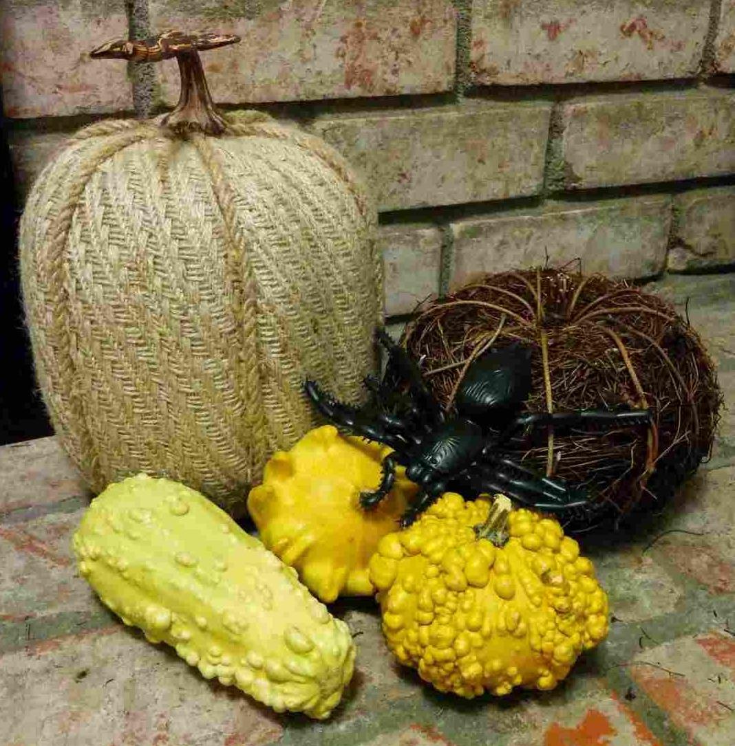 Burlap and wooden pumpkins