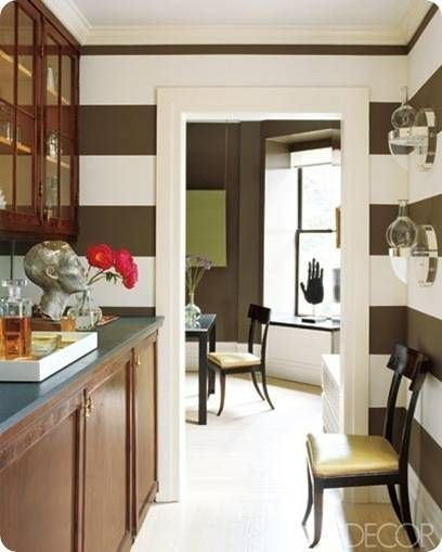 Brown and white  striped Butler's Pantry