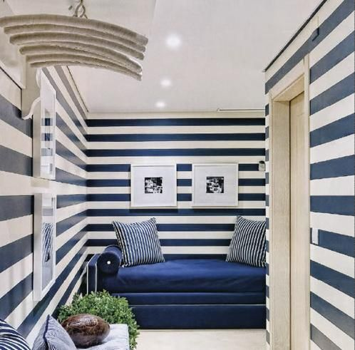 Navy and white  striped room