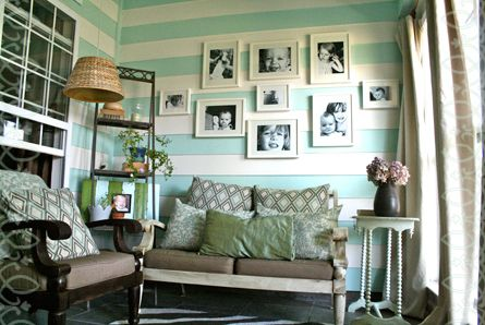 Turquoise and white  striped room