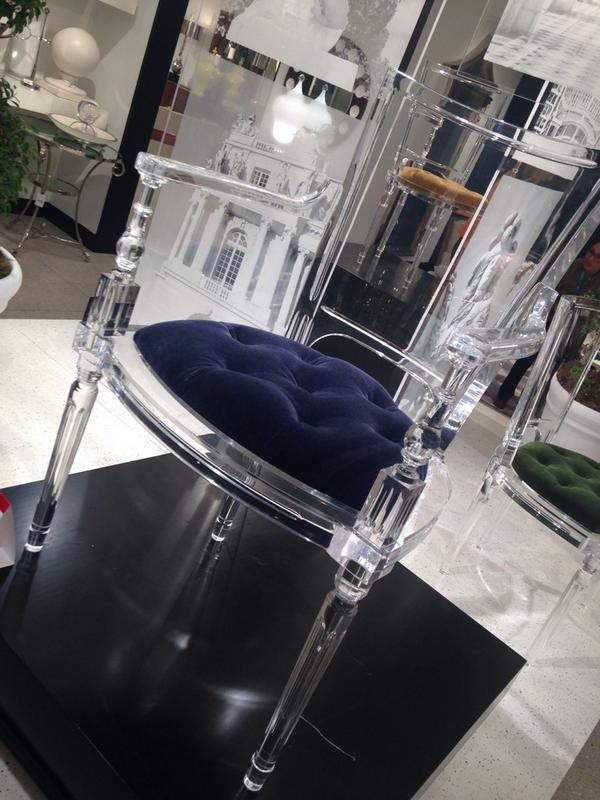 Global Views  Marilyn acrylic arm chair  with mohair seat