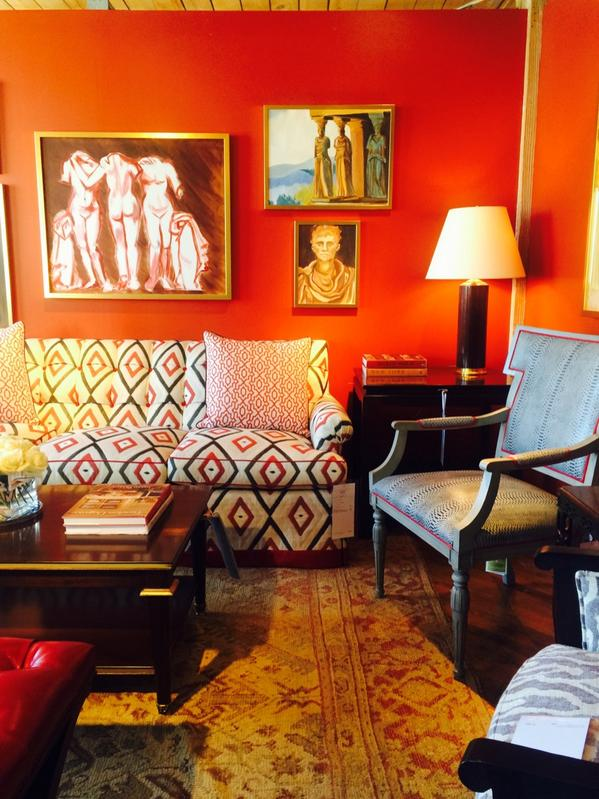Vibrant wall color  in theAlexa Hampton Inc for Hickory Chair Co display