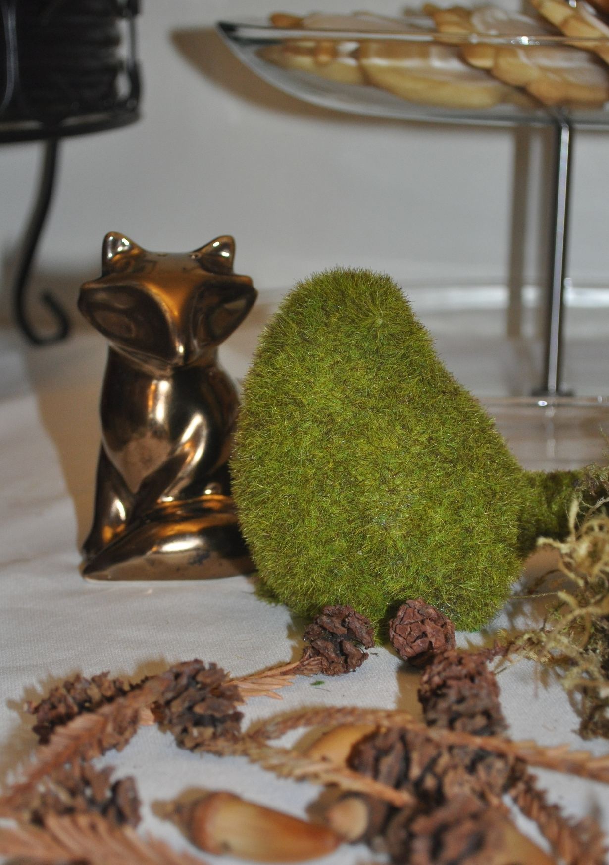 Fox  salt shaker  and faux  moss bird