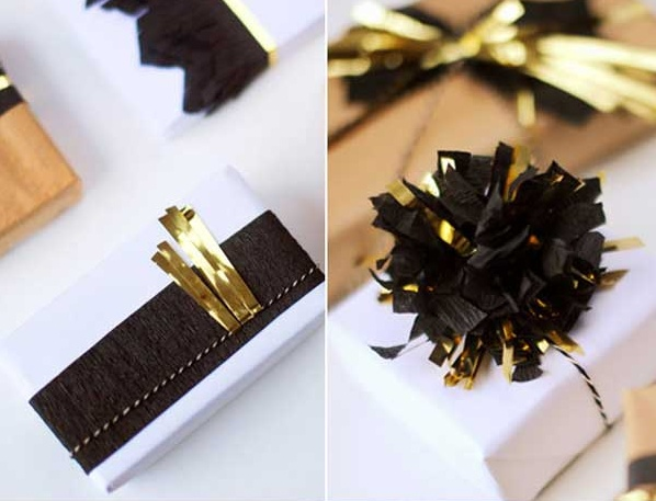 Gold accented gift wrap at  Woo Home