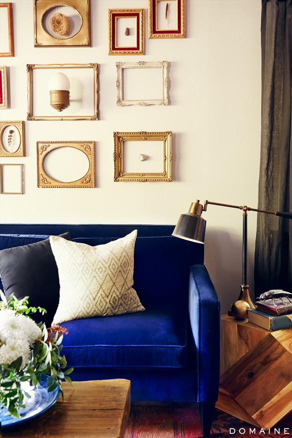 Rich blue velvet at  Domaine Home