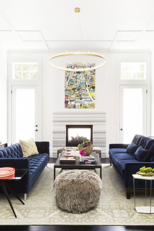 Navy blue velvet couches at Domaine Home