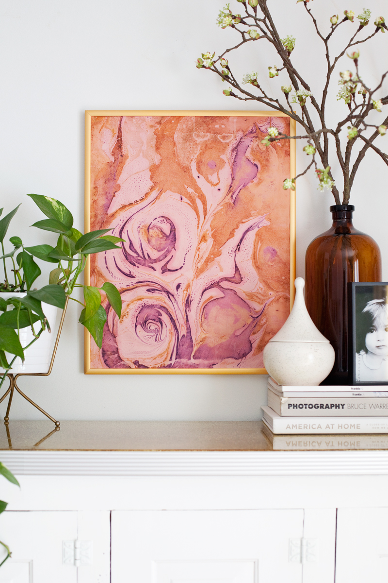 Marbleized paper DIY at  A Beautiful Mess