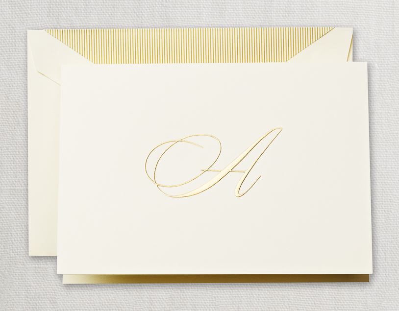 Crane Hand Engraved Script Note Cards