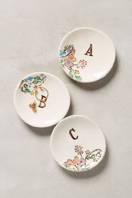 Monogrammed Garland  Ring Dish