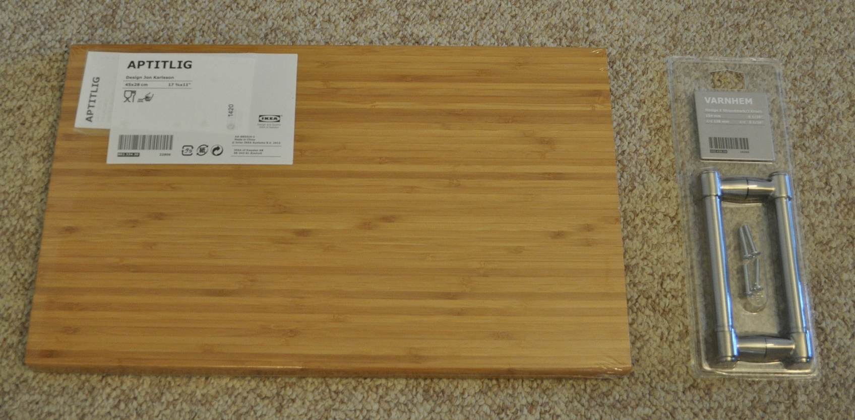 Cutting board  and  handles  from Ikea