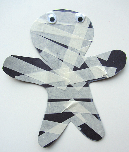 Masking Tape Mummy  from No Time For Flashcards