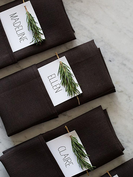 Rosemary sprig place cards via  Spoon Fork Bacon . So simple and gorgeous!