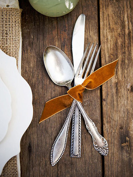 Wrap silverware in a velvet ribbon via  Style Me Pretty
