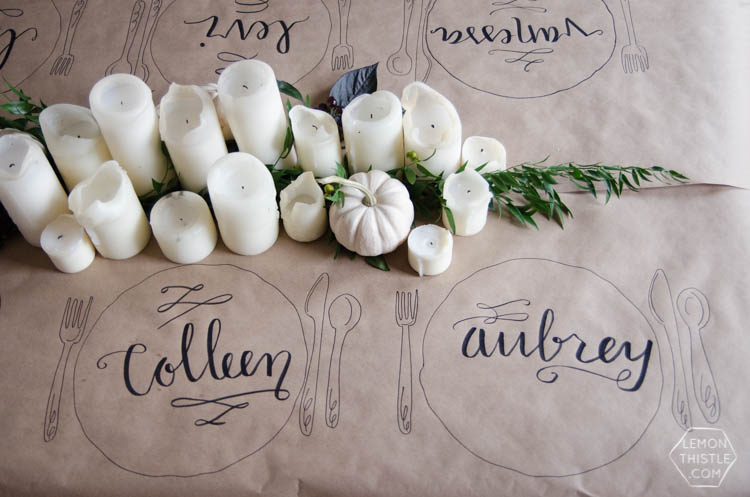 Craft paper for table cloth and place cards, all in one! Via  Lemon Thistle