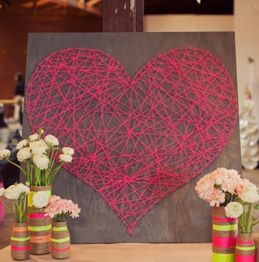 DIY String Heart - I see this type of DIY all the time, I may actually do it this time.  Source