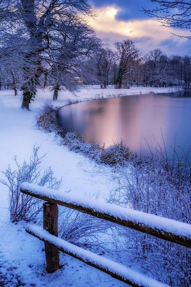 Beautiful snowy lake-scape.  Source