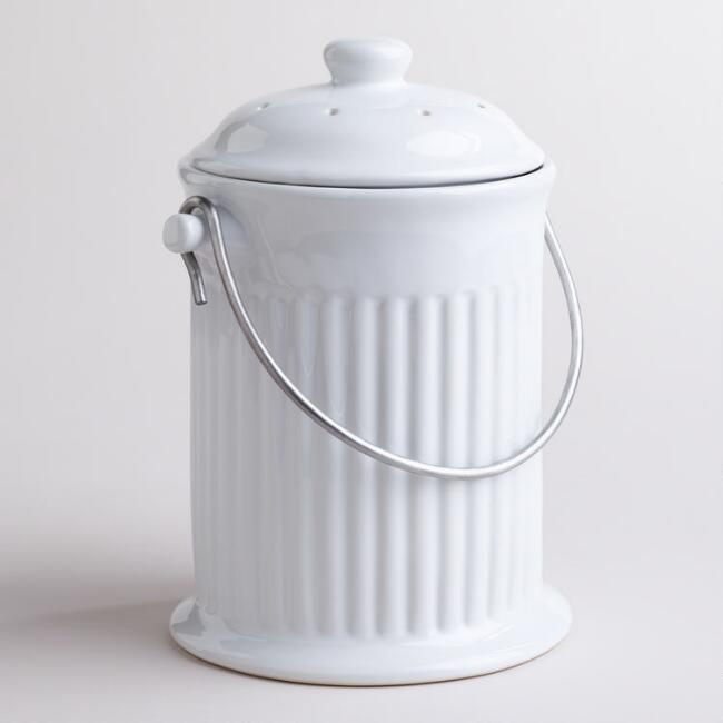 White Ceramic Compost Bucket  from World Market - this is the one I got and love it!