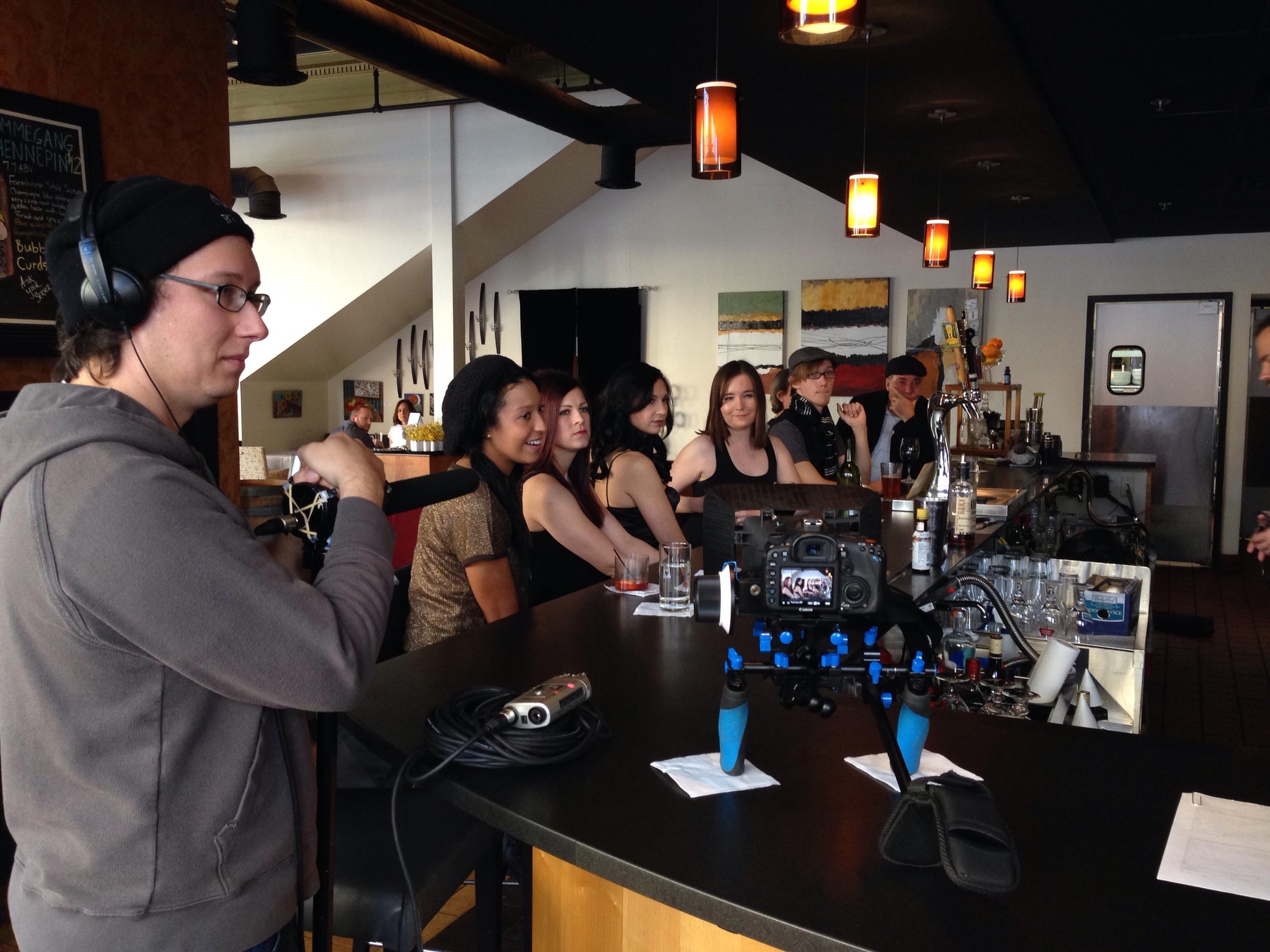 Filming bar scene.