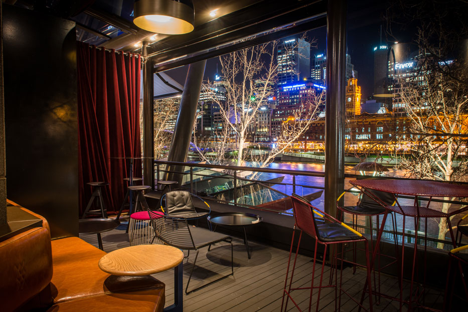 Gorgeous city and Yarra views from Waterslide Bar - non-smoking outdoor. Yes.