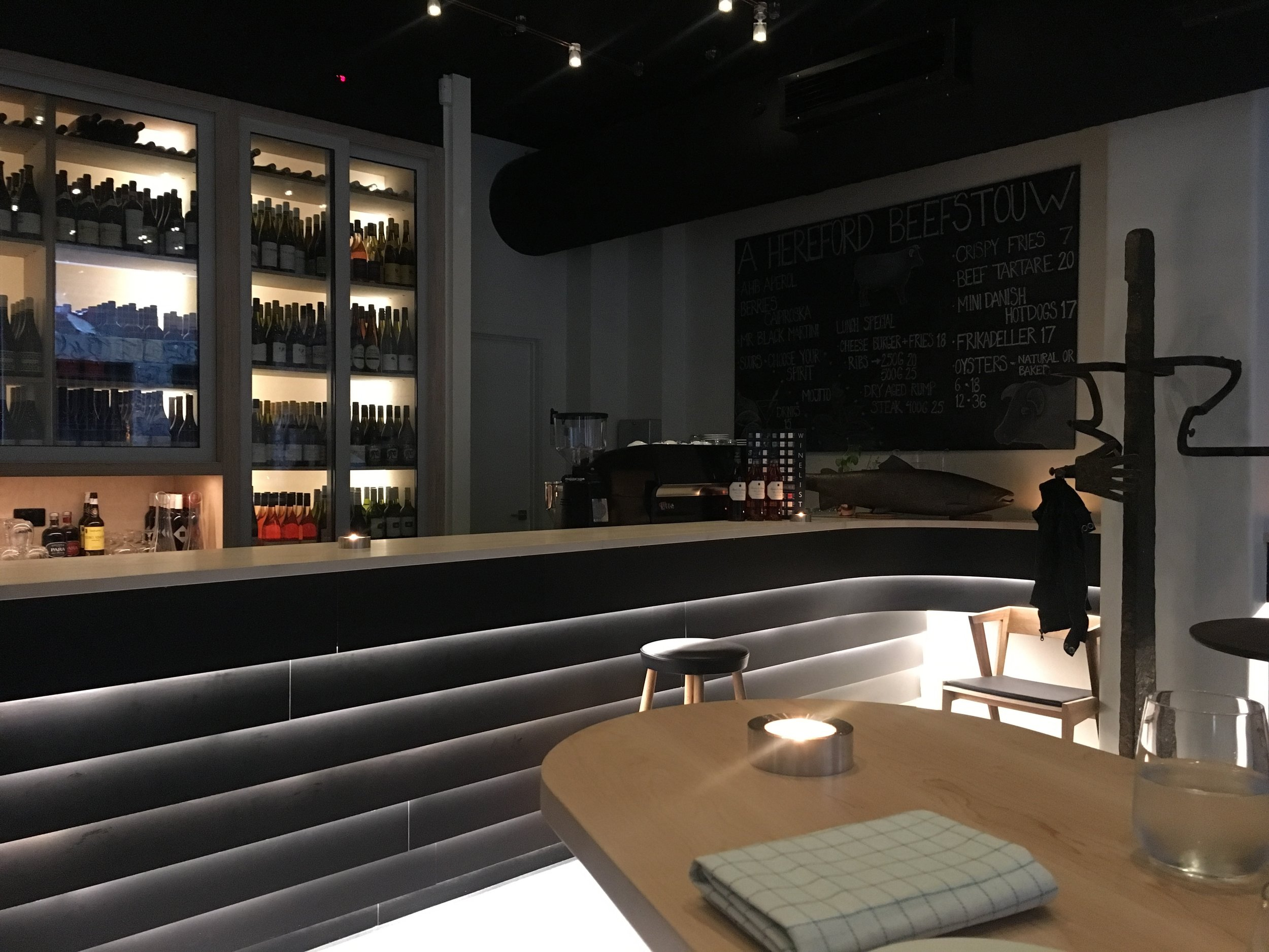 The front bar space is ideal for after-work and pre-dinner drinks
