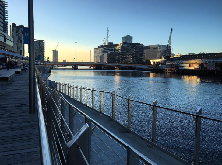 See the sun set over the water from Southwharf.