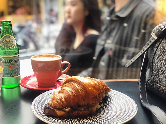 First day back in Melbourne tradition: croissant and coffee at local spot @caffeetorta for some laneway love and people watching 🥰 #happyplace #peoplewatching #melbournetime