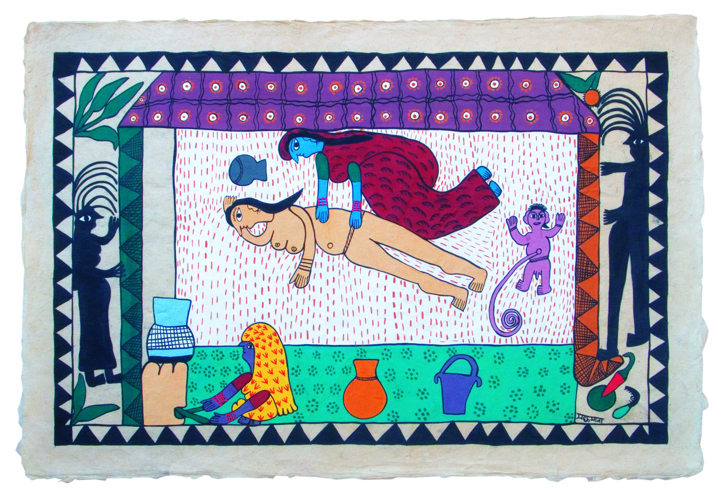 A painting by Madhumala Mandal depicting a traditional birth