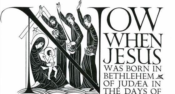 Lettering of the beginning of chapter 2,St Matthews Gospel, Eric Gill