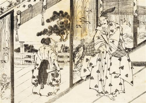 A well educated boy pays respects, Katsushika Hokusai