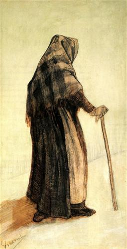 Old woman with a shawl and walking stick, van Gogh