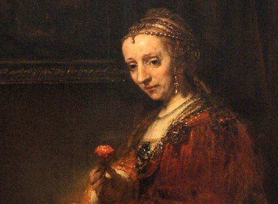Woman with a pink, Rembrandt