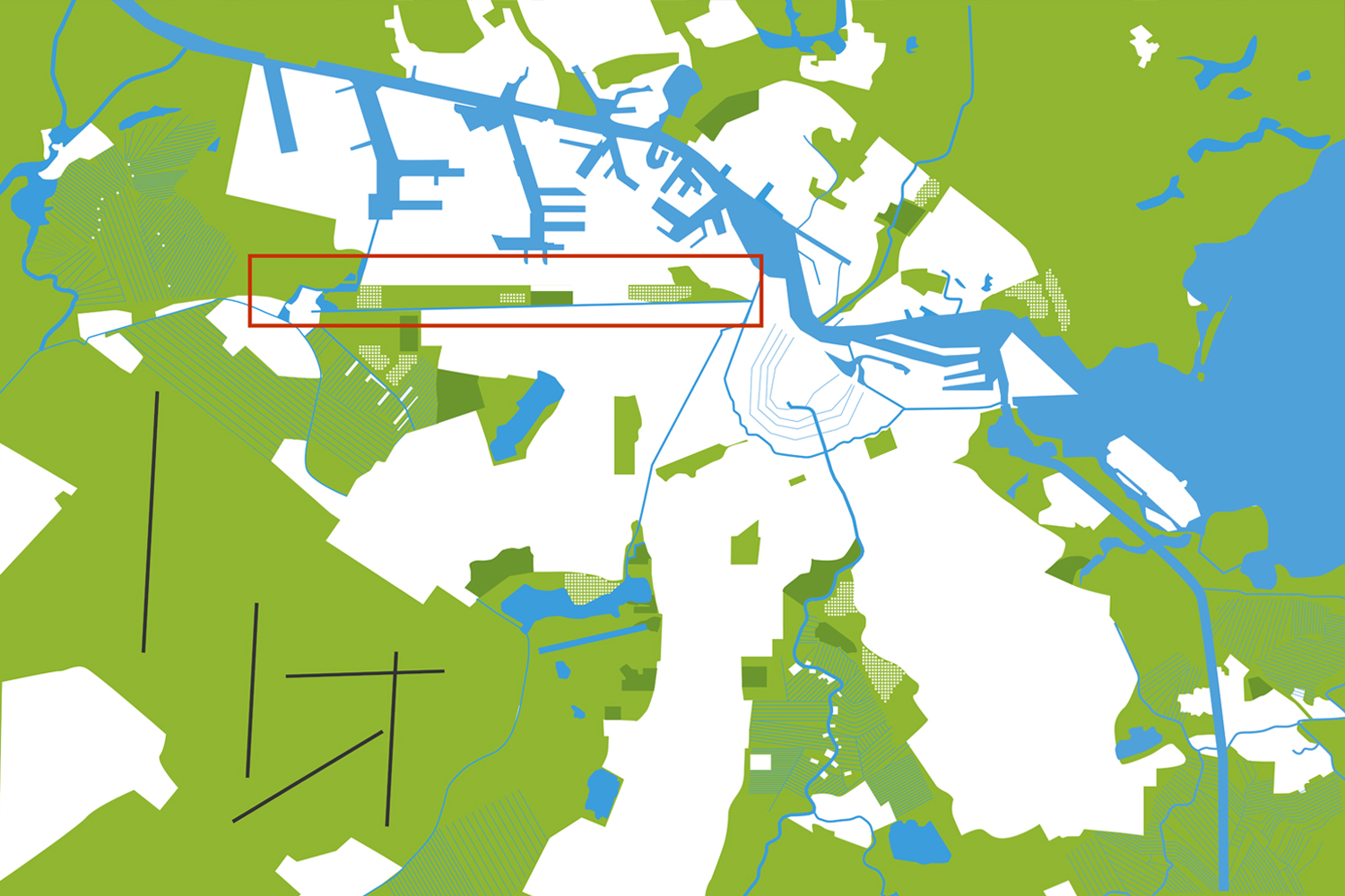 In the ''General Development Plan 1934'', the Brettenzone was included in the main green structure in order to bring air and landscape into the city of Amsterdam.