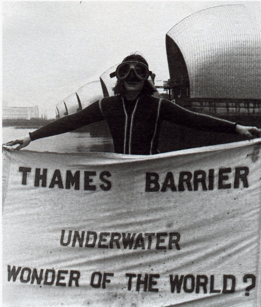 Me, taking part in the UK's first Day of Action on climate change, 28th January 1989, as part of Greenwich and Lewisham Friends of the Earth.