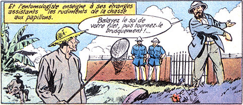 « Eugène Teaching The Convicts » panel from :  TINTIN MAGAZINE : №396 24 May 1956 « The Ephemeral Carousel » (4 pages on the life of Eugène Le Moult)