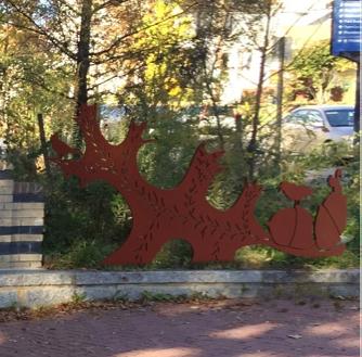 Scarlet Oak Leaf and Acorn Sculpture