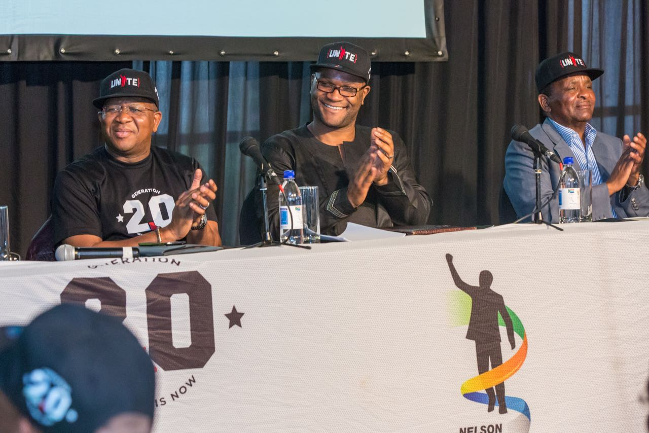 Minister of Sport and Recreation, Mr Fikile Mbalula; Minister of Arts and Culture, Mr Nathi Mthethwa and Mr Gideon Sam, President of SASCOC address media at a UNITE 2.0 press conference held at the SASCOC Olympic House on Monday 17 November.