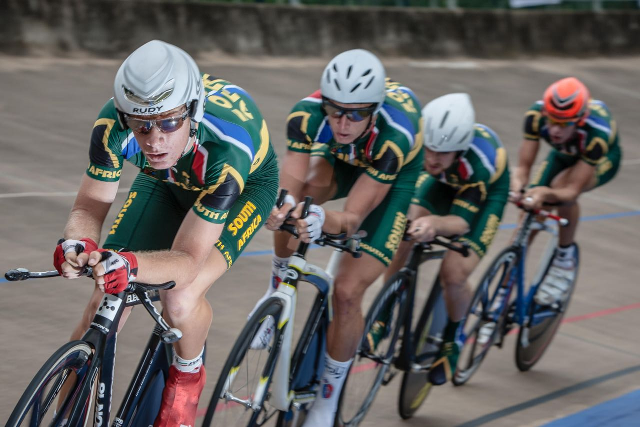 The men's team pursuit heats were tightly contested on the opening morning of the African Track Cycling Championships at the Sax Young Cycling Track in Pietermaritzburg © Craig Dutton/Gameplan Media