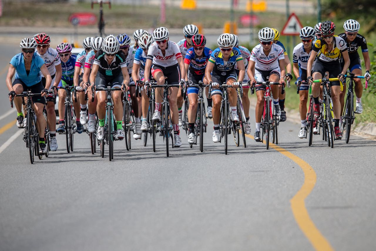 A strong field of women riders gathered for the Road Race which was eventually won by defending champion and Commonwealth Games bronze medallist Ashleigh Moolman Pasie on day five of the 2015 Pennypinchers South African Road, Time Trial and Para-cycling Championships © craigdutton.com