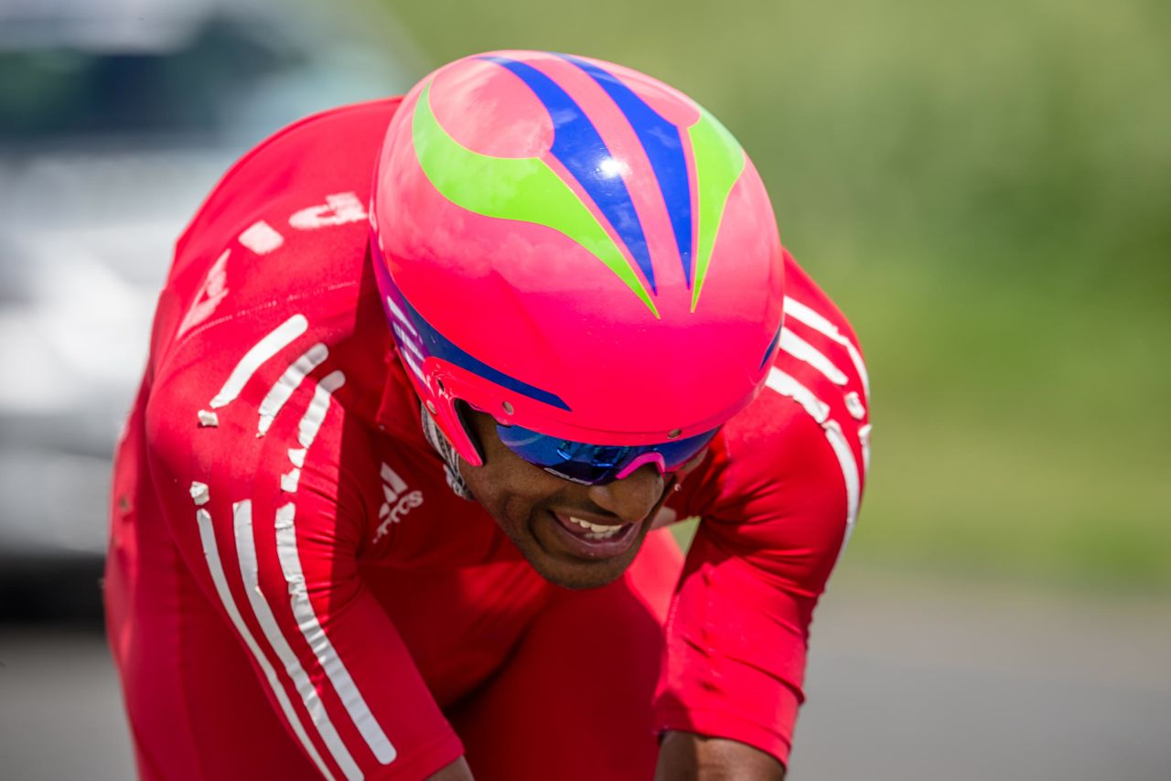 It was a historic day for Ethiopian cycling as Tsgabu Grmay became the first man to win an Elite Men's gold medal as he powered to victory in the Individual Time Trial on day threeof the 2015 Confederation of African Cycling African Road Championships on Wednesday © craigdutton.com