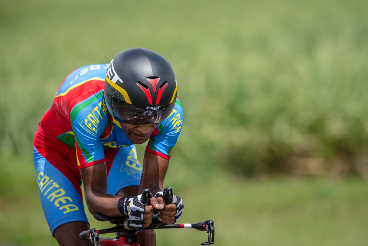 Having won gold in the Team Time Trial on Monday, Eritrea's Merhawi Kudus added the Under 23 Men's Individual Time Trial gold to his growing list of achievements on day threeof the 2015 Confederation of African Cycling African Road Championships on Wednesday © craigdutton.com