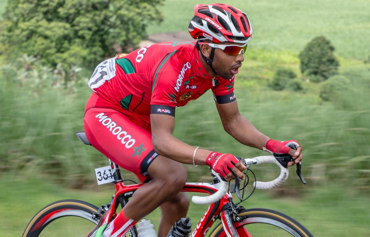 Morocco's El Medhi Chokri produced a stellar ride to comfortably claim victory in the Junior Men's Road Race on day four of the 2015 Confederation of African Cycling African Road Championships on Thursday © craigdutton.com