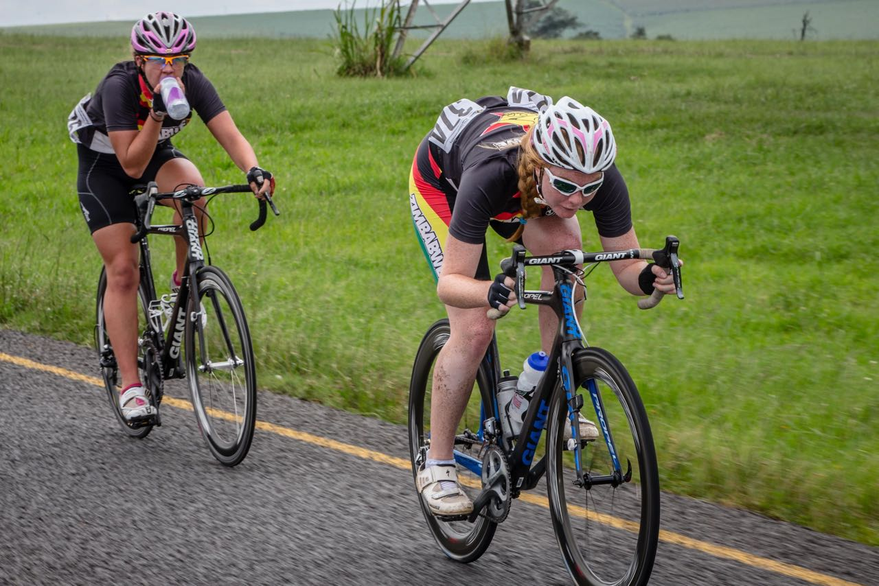Skye Davidson (front) works on the front with teammate, and eventual winner of the Junior Women's Road Race Helen Mitchell (back) behind her on day four of the 2015 Confederation of African Cycling African Road Championships on Thursday © craigdutton.com