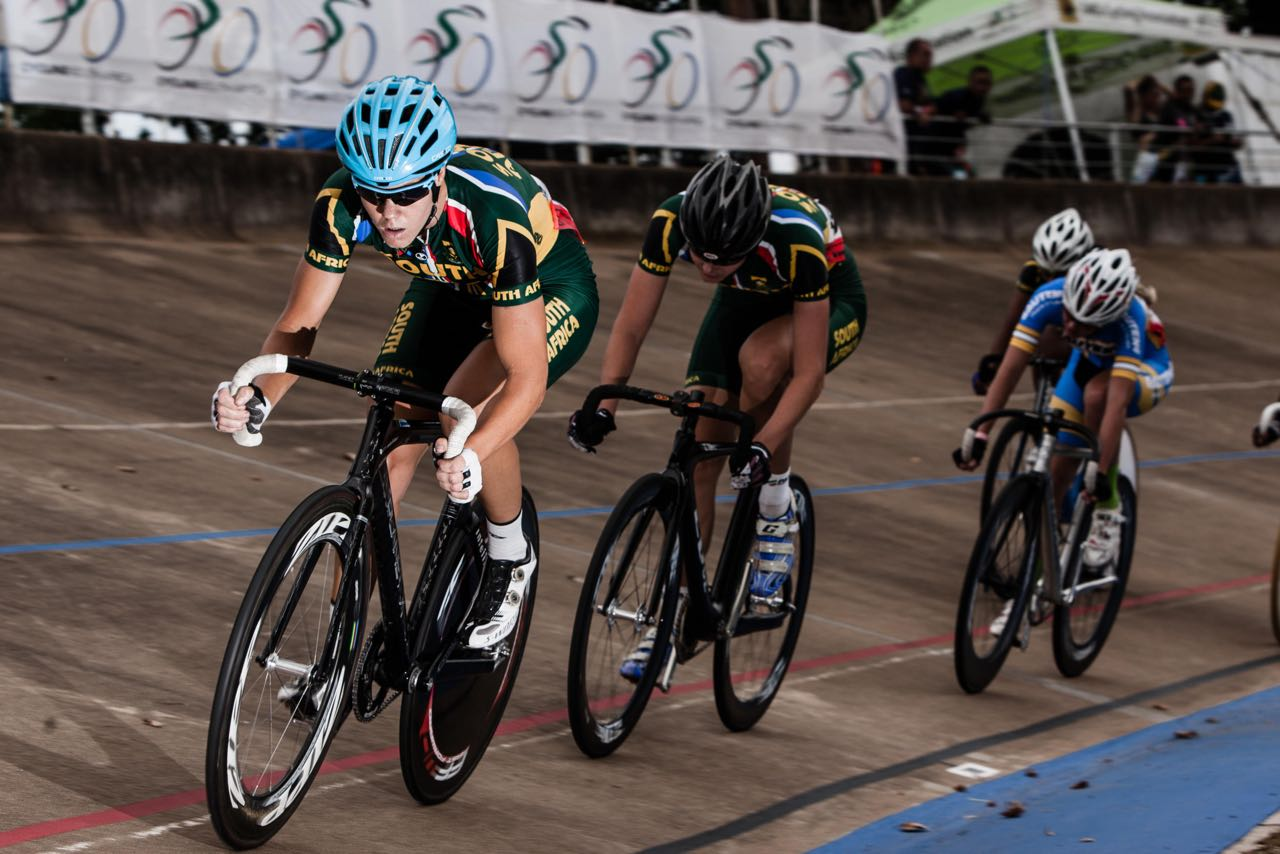Maroesjka Matthee earlier this year at the African Continental Track Championships. Matthee is now competing in the 3000m Individual Pursuit and the 7.5km Scratch events at the 2015 UCI Track Cycling World Championships in France. Photo:   ©     craigdutton.com.
