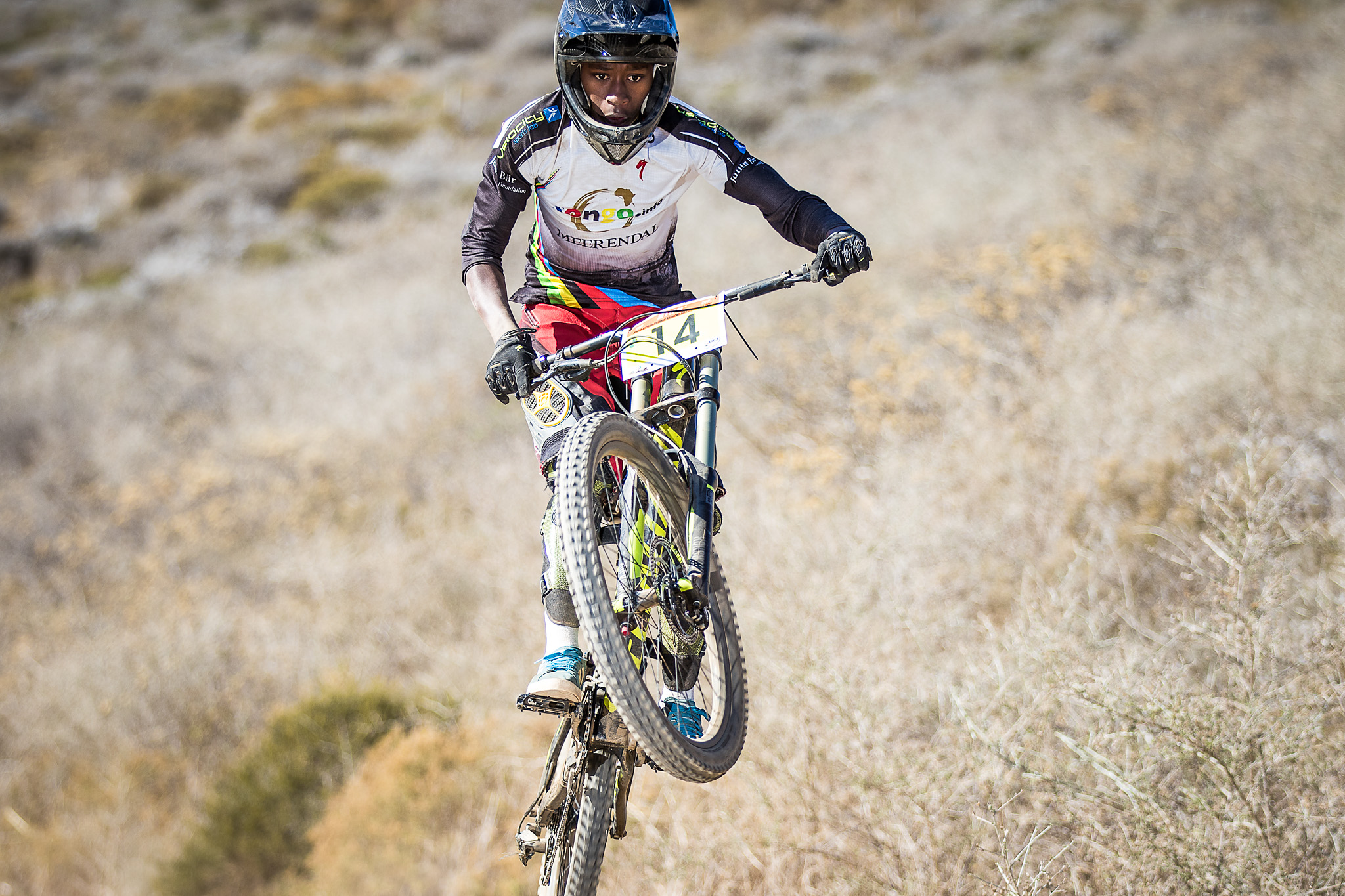 Bonga Notoko, who ridesfor Songo.Info at t he Stihl 2015 SA MTB Cup Series which took place in Contermanskloof in the Western Cape on Sunday 22 February 2015   .  Chris Hitchcock | PhotoSport