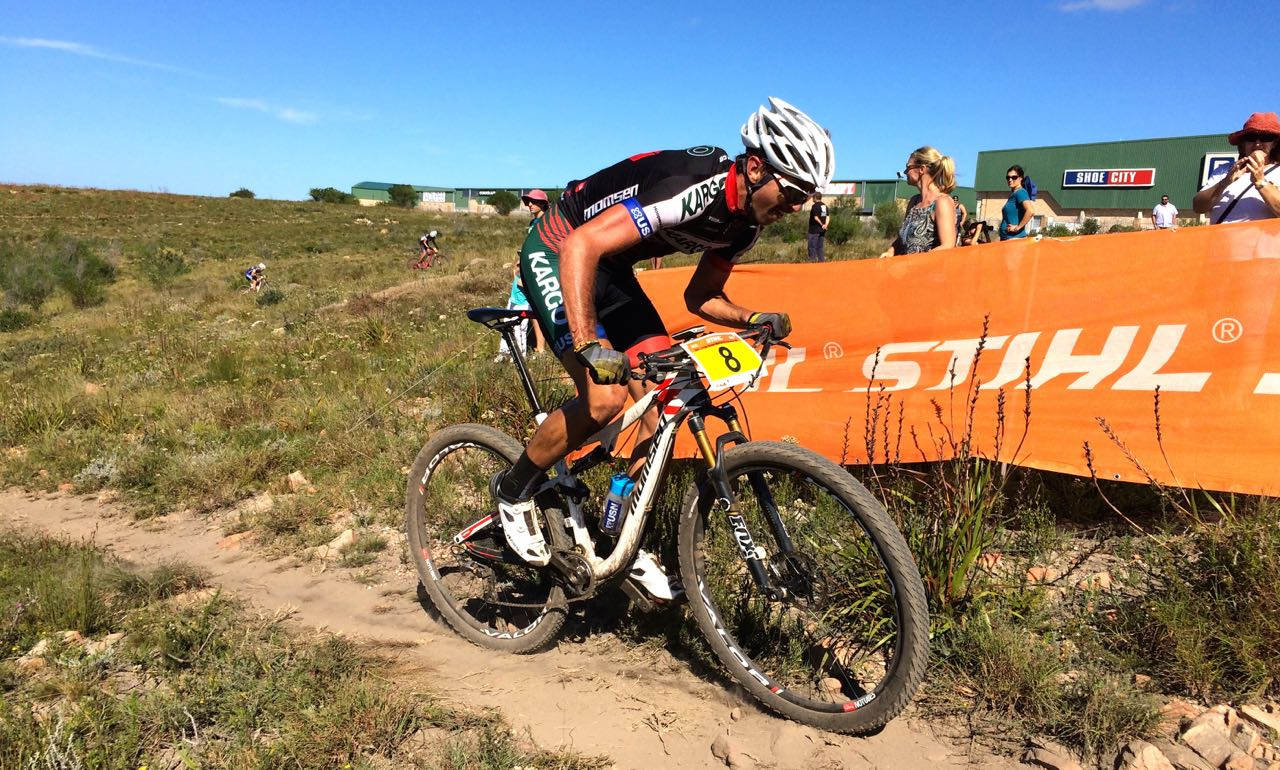 Brendon Davids (Kargo Pro MTB Team) at the opening round of the Stihl 2015 SA National XCO Cup Series in the Baakens Valley in Port Elizabeth on Saturday, 28 February © Evan Rothman
