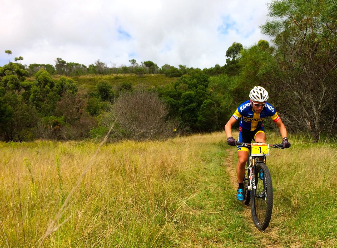 Swedish National Champion Emil Lindgren (Kargo Pro MTB Team) at the opening round of the Stihl 2015 SA National XCO Cup Series in the Baakens Valley in Port Elizabeth on Saturday, 28 February © Evan Rothman