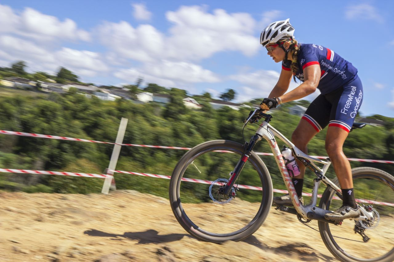 Candice Neethling (Freewheel Cycology/Pam Golding) at the opening round of the Stihl 2015 SA National XCO Cup Series in the Baakens Valley in Port Elizabeth on Saturday, 28 February © Andre Hugo