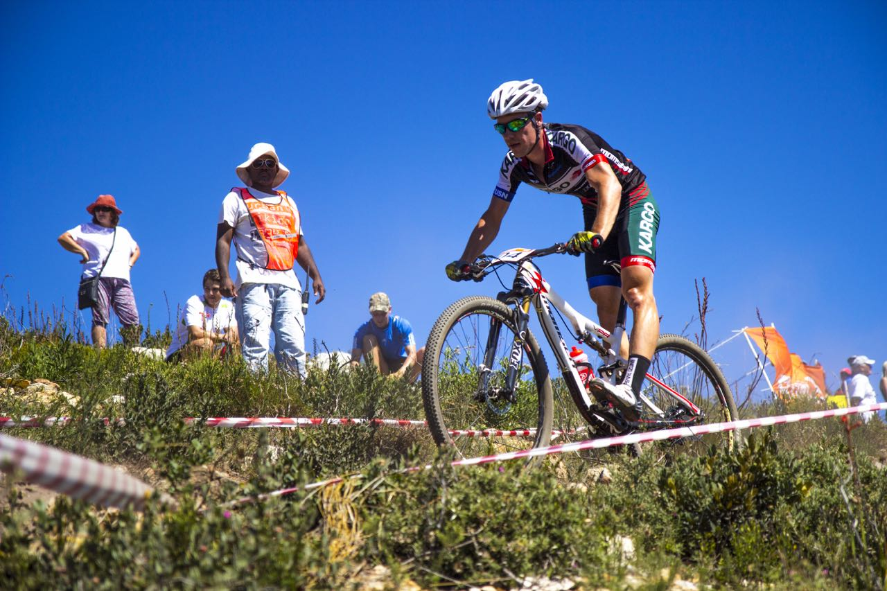 Marco Joubert (Kargo Pro MTB team) at the opening round of the Stihl 2015 SA National XCO Cup Series in the Baakens Valley in Port Elizabeth on Saturday, 28 February © Andre Hugo