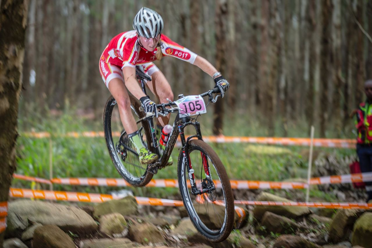 Malene Degn of Denmark mastered the tricky slippery conditions to win the elite women's HC race at the Pietermaritzburg MTB Festival at the Cascades MTB Park on Saturday. ©    craigdutton.com