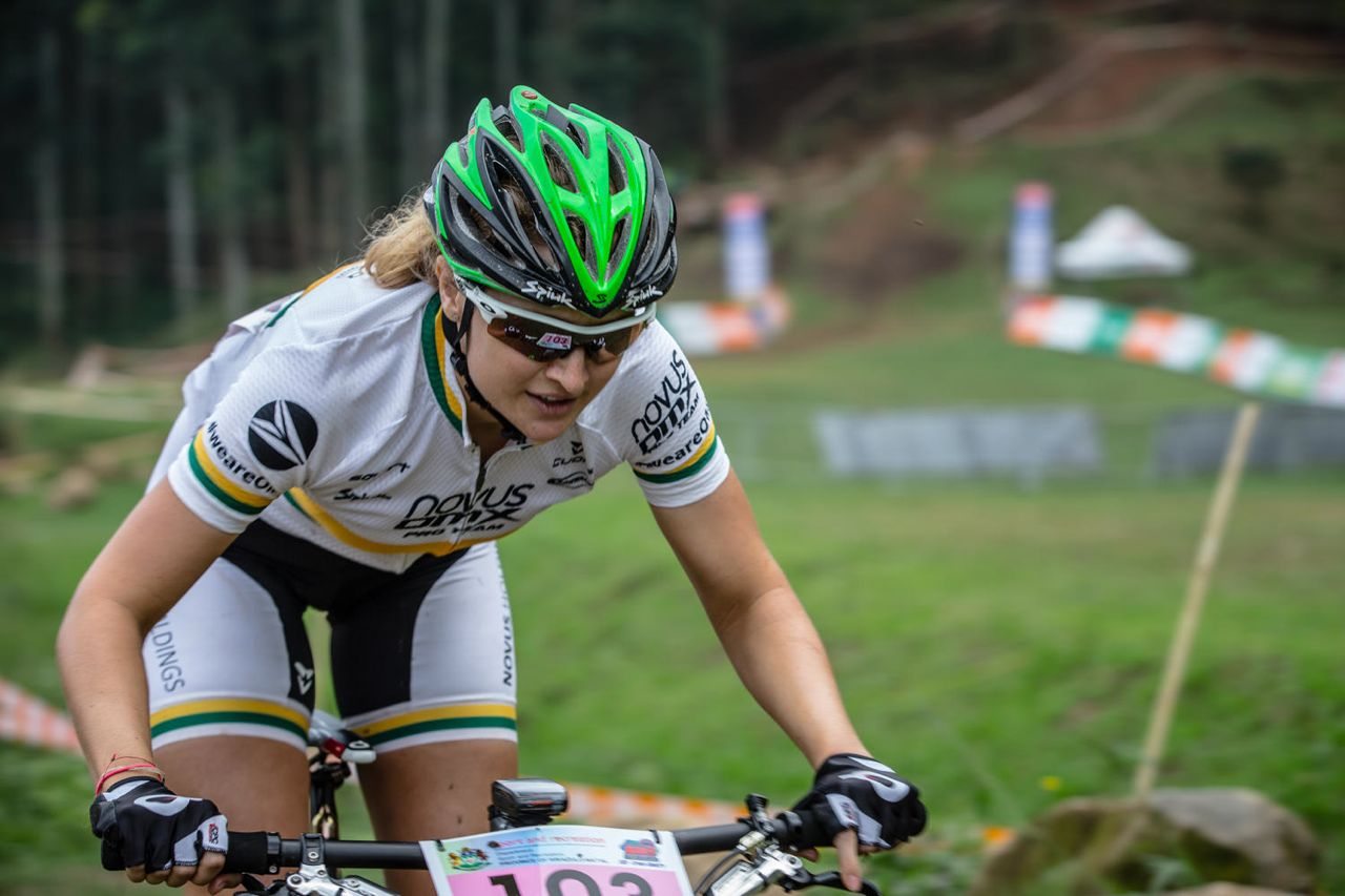 South African Mariske Strauss in action during the elite women's HC race at the Pietermaritzburg MTB Festival at the Cascades MTB Park on Saturday. ©    craigdutton.com